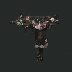 A limited edition floral, black gun piece on cotton rag by pop surrealist artist, Magnus Gjoen.