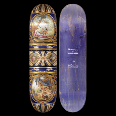A limited edition skate deck piece made by a sevres vase by pop surrealist artist, Magnus Gjoen in the Wallace Collection.