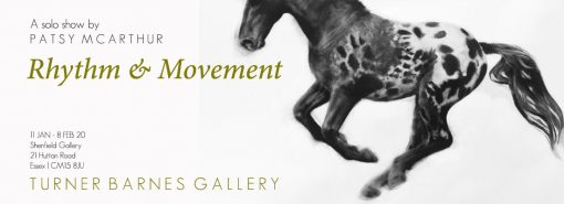 Patsy McArthur figurative artist monochrome charcoal drawn horse galloping on paper information of exhibition next to image