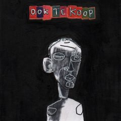 Original of drawn on man with black background and text stating 'ook te koop' in colours