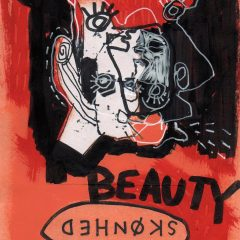 Original mixed media on paper by Simon Kirk red, white and balck man spitting with red and black backround with the word 'beauty'