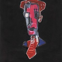 Bleeker is an original mixed media on paper piece by Simon Kirk. Colourful fae and upper chest of man with hat in a black background with the word 'Bleeker' in different colors to match the man