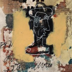 Bruno is a mixed media on paper piece by artist, Simon Kirk. An outline of a man with layers of paper and newspaper as the background
