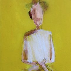 An original mixed media on board piece by artist, Simon Kirk. Faded drawn man in hat with a yellow background