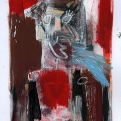 An original mixed media on paper piece by artist, Simon Kirk. Graffiti style man with multiple colour red background