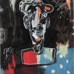 An original mixed media on paper piece by artist, Simon Kirk. White outlined drawn man with hat and red, blue and black background