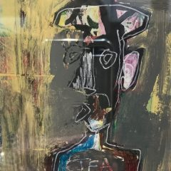 An original mixed media piece by artist, Simon Kirk. Graffiti style white outline man with hat on dark gloomy background