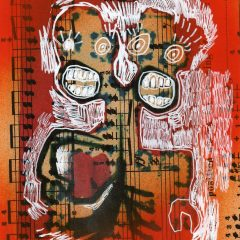 An original mixed media on paper piece by artist, Simon Kirk. Two oulined drawn men in the colour white attached to one another with a music note, orange background