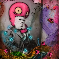 Fistersmith is an original piece by Tom Lewis Mixed media Monster cross between old fashion and grafitti