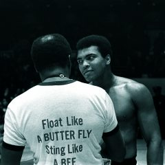 Photograph of Muhammad Ali before a fight in black and white