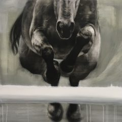 Figurative artist Patsy Mcarthur. Monochrome charcoal drawn horse on paper jumping over show jump pole