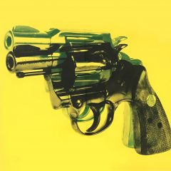 Original hand painted and screen printed on canvas piece by Russell Marshall. Yellow background with green gun shadow effect