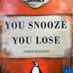 Penguin Book You Snooze You Lose on Canvas