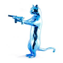 Limited edition blue metallic cat sculpture