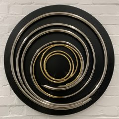 Original nickel & gold plated copper on painted steel sculpture