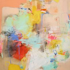 Original painting of abstract on canvas yellow blue summer colours
