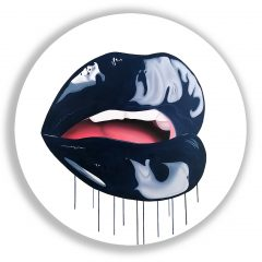 Blue Velvet A pop art inspired piece by Sara Pope Bold Dark Blue Glossy Lips Teeth Kiss