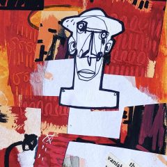 Small black & white man with red collage background original mixed media on paper