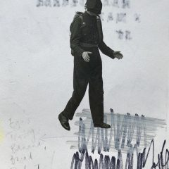Small man in black suit original collage mixed media on paper