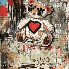Small teddy bear original collage mixed media on paper