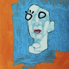 Small black outline man blue and orange background original mixed media on paper