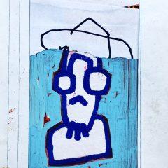 Small blue man original mixed media on paper