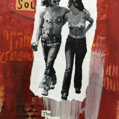 Small black and white hippie couple on red collage background original mixed media on paper