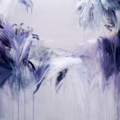 Original purple floral abstract art on canvas