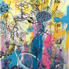 Graffiti neon yellow mono print by Dan Baldwin
