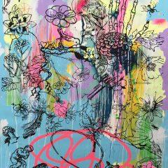 Graffiti neon blue mono print by Dan Baldwin