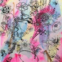 Graffiti neon pink mono print by Dan Baldwin