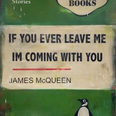 Green penguin book by James McQueen - mixed media on canvas