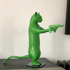 Unique green resin cat sculpture