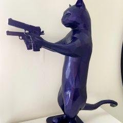Unique purple resin cat sculpture