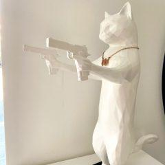 Unique white resin cat sculpture