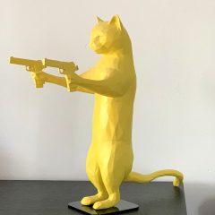Unique yellow resin cat sculpture