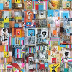 Simon Kirk original mixed media on board collage