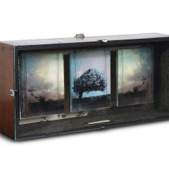 Original mixed media assemblage illuminated story box