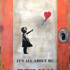 It's All About Me Banksy, an original painting by James McQueen on canvas